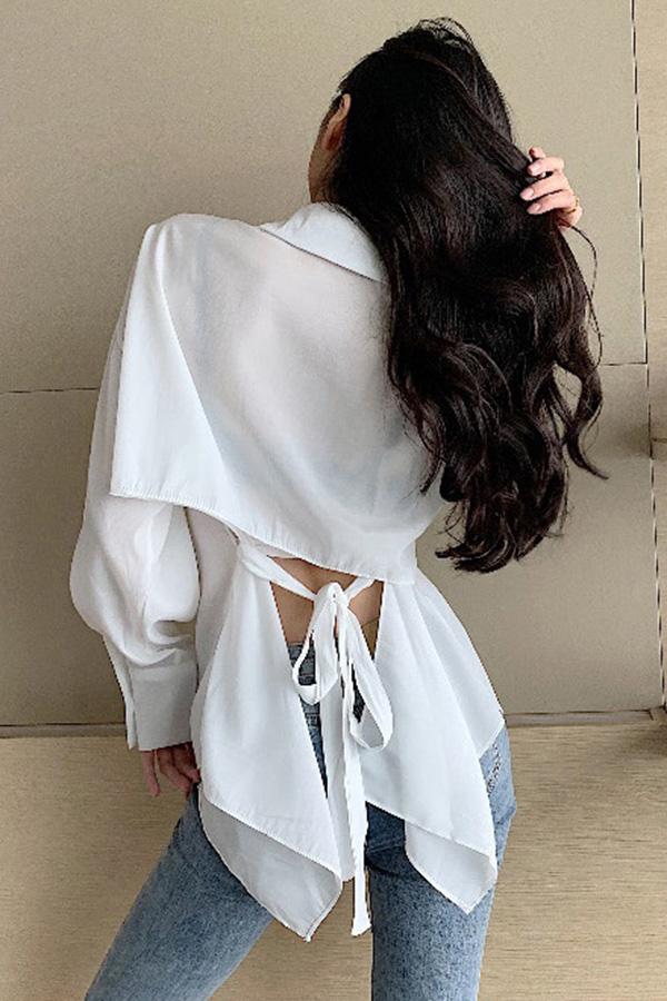 (당일배송) 조인 카라 백리본 커프스 셔츠