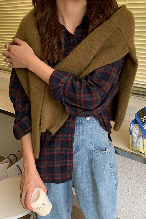 심플한체크 루즈핏 데일리 셔츠