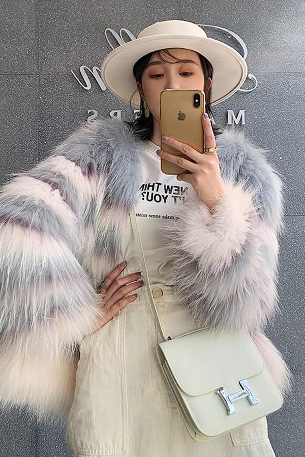 ◆[리얼퍼]룩컬렉션 리얼리그라데이션 캉캉컬러배색 핑크그레이 라쿤 후드퍼자켓