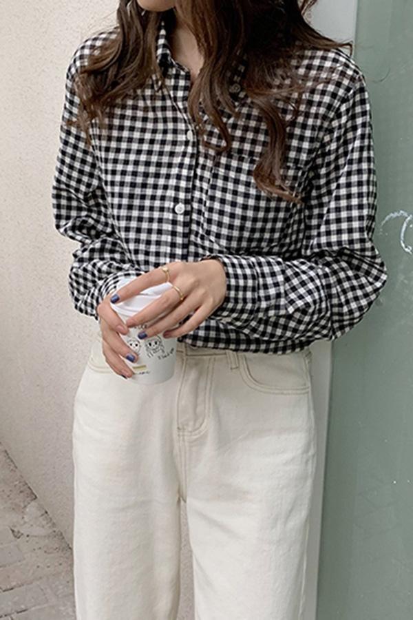 심플체크 데일리 루즈핏 셔츠 (블랙화이트,오렌지)