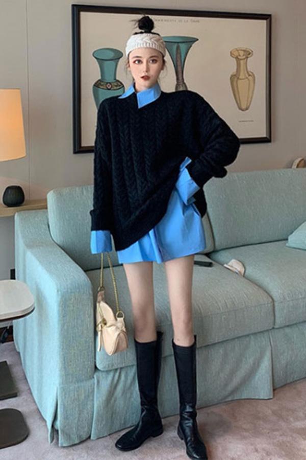블랙 니트+블루 셔츠 세트