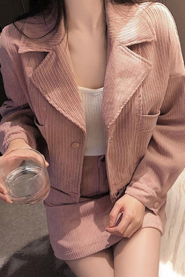 핑크 카라 자켓+미니 스커트 세트