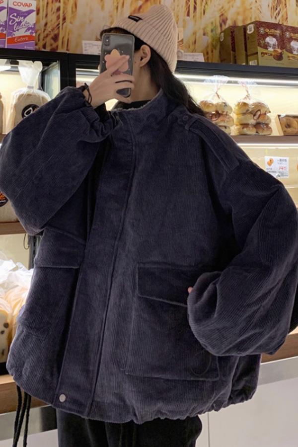 겨울코듀로이 데일리 루즈핏 박스 야상자켓 (그레이,브라운)