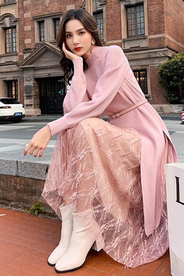 슈리어 절개라인 반목골지 원피스 밴딩레이스스커트 투피스 코디세트 SET (핑크,살구)