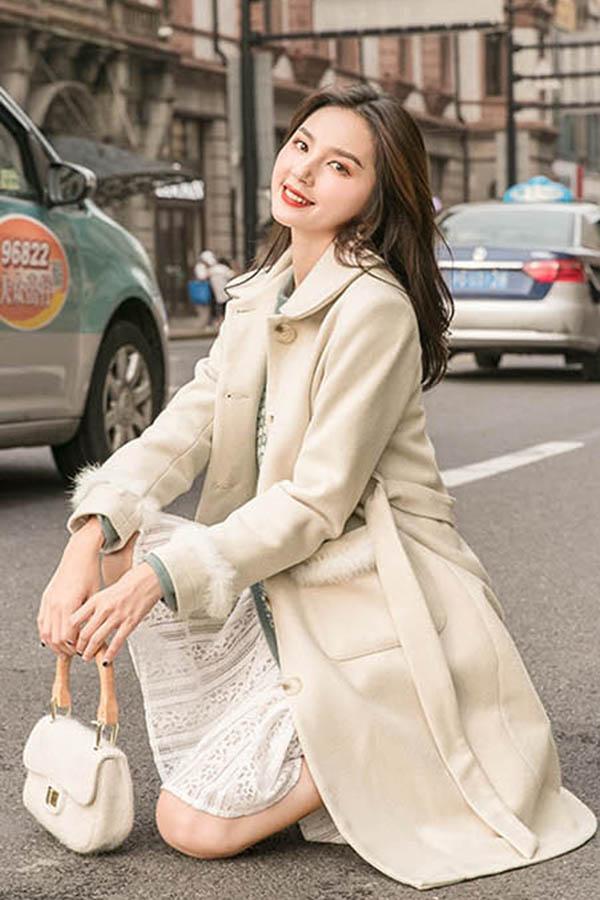 퍼펙트카라 허리스트링 소매 포켓 에코퍼포인트 여성코트