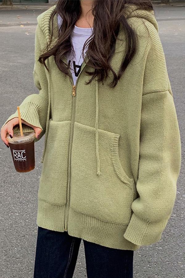 요피 니트 스웨터 후드집업 가디건 자켓 (살구,퍼플,그린)