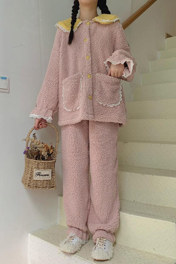 큐티세일러 레이스프릴포인트 뽀글이수면 잠옷세트 (블루,핑크)