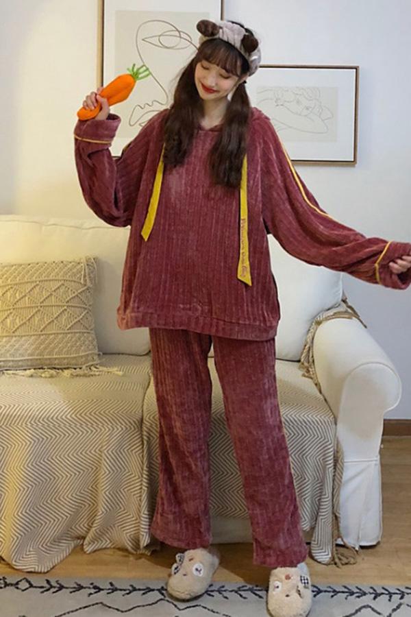 해리 벨벳골지 옐로우라인포인트 후드잠옷세트