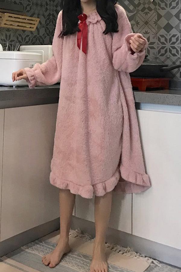 해피 리본타이 프릴 오프숄더 보들이 원피스잠옷 (아이보리,핑크)