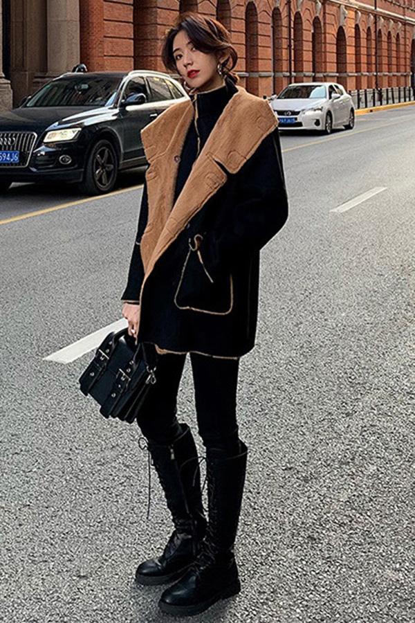 겨울코디 양털카라 하프박시 무스탕자켓 (블랙,브라운)
