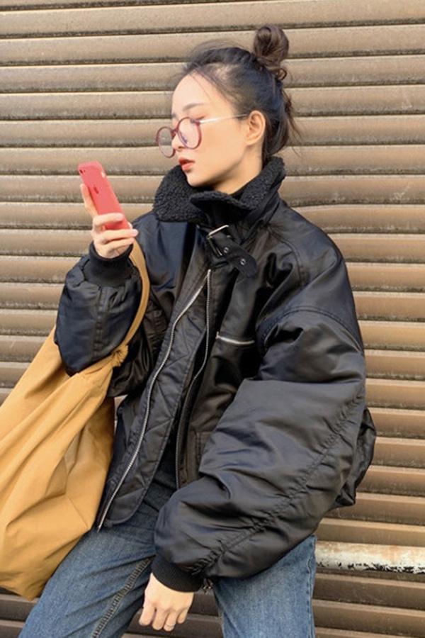 클래릭 에코 양털 카라 무스탕 항공 점퍼 집업 자켓