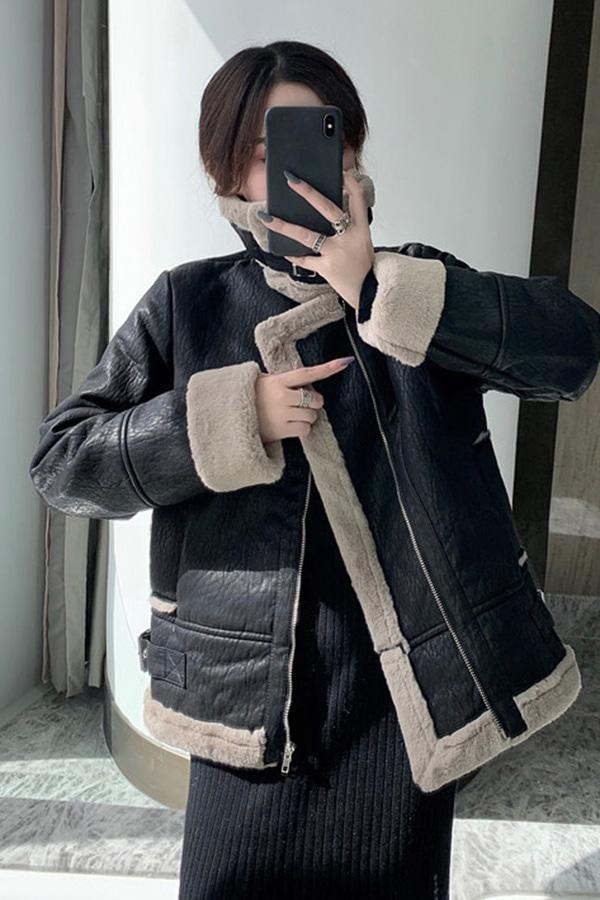 메자이 에코 레더 퍼 무스탕 자켓