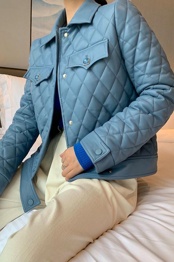 캔디보석 퀼팅숏 카라 레더자켓 (블루,살구)