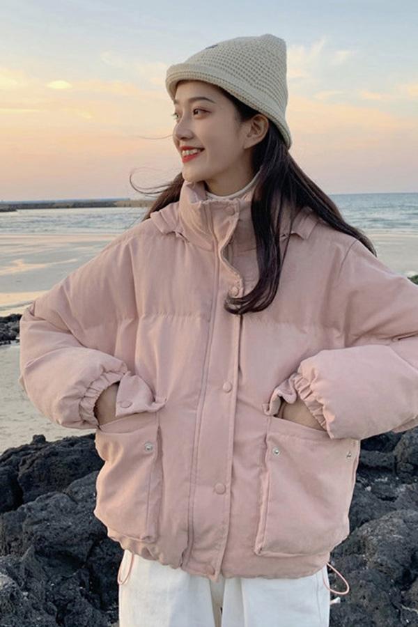 쵸파 후드 집업 포켓 숏 패딩 자켓 (핑크,옐로우,살구)