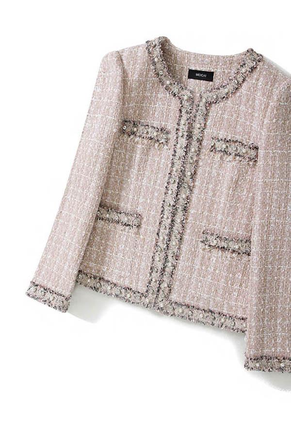 이코닉 사이드포켓 라운드넥 핑크여성 트위드자켓