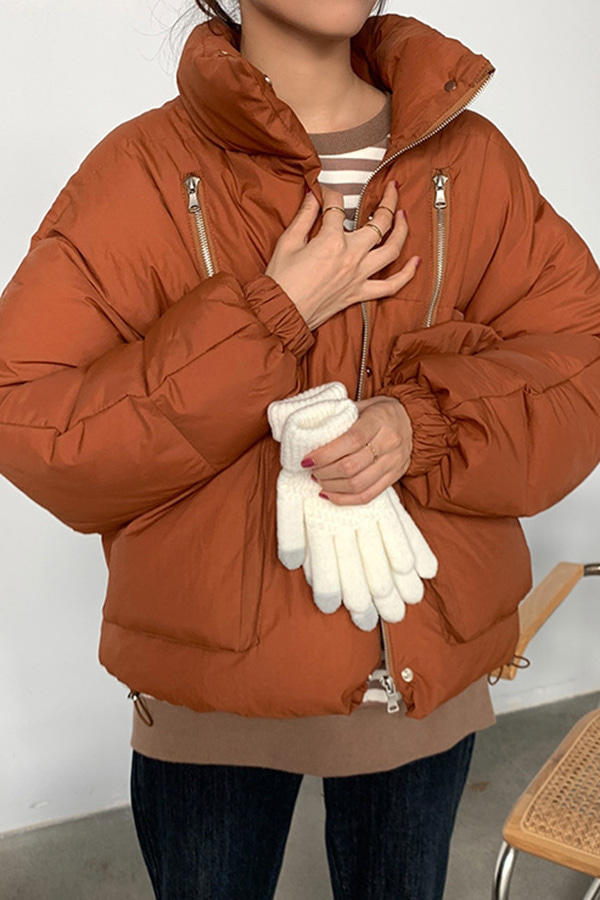 핏이예술이야 박스 루즈핏 데일리 숏패딩 (살구,커피브라운)