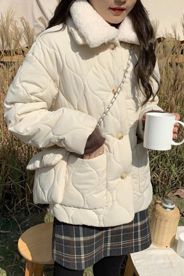 도비 퀄팅 에코양털 카라 패딩 자켓 체인 크로스백 가방 SET (아이보리화이트,그린)