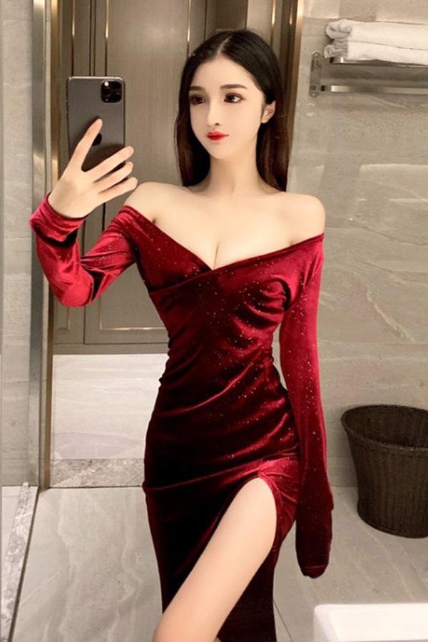 모션 섹시 브이넥 딥슬릿 반짝벨벳 원피스 (블랙,와인)