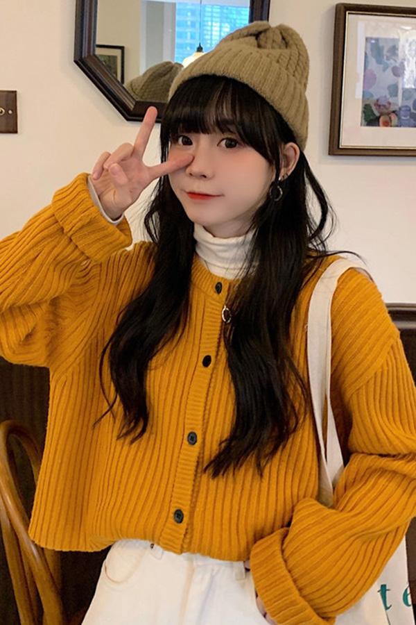 심쿵철철 데일리 골지 루즈핏 크롭 가디건 (화이트,옐로우,핑크)