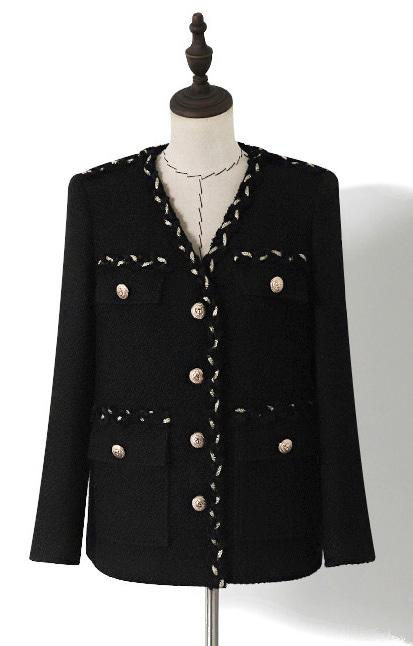 골드링꼬임 커버포켓 블랙 여성 트위드자켓