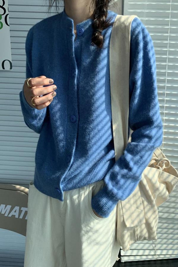 콜리 라운드 버튼 베이직 심플 니트 가디건 (8color)