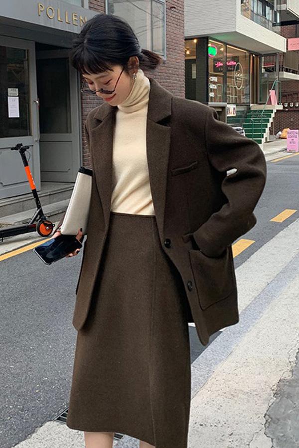 (당일배송) 베스트핏 오버박시핏 자켓+미디 트임스커트 투피스 코디세트SET (커피브라운,그레이블랙)