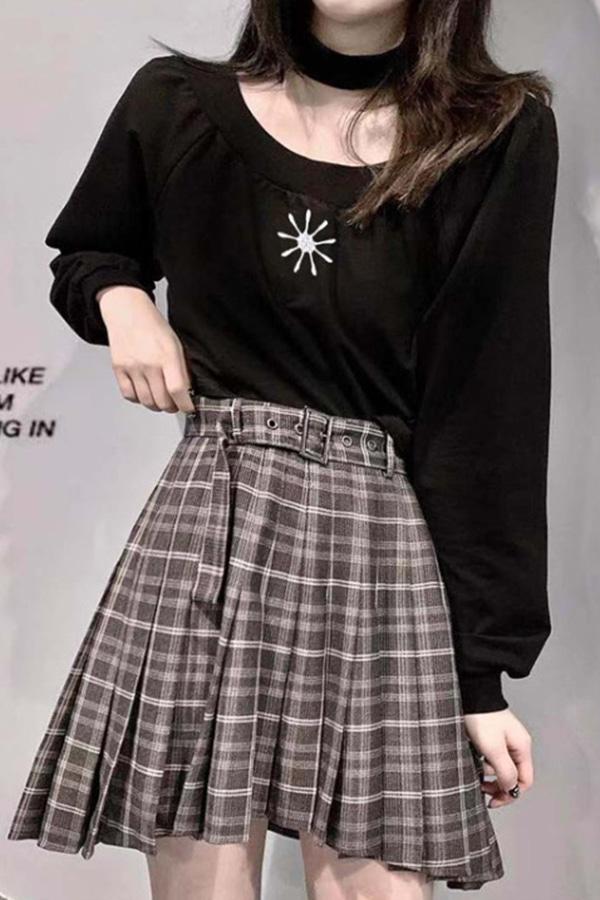태양 초커 크롭 티셔츠 체크 미니테니스 스커트 SET