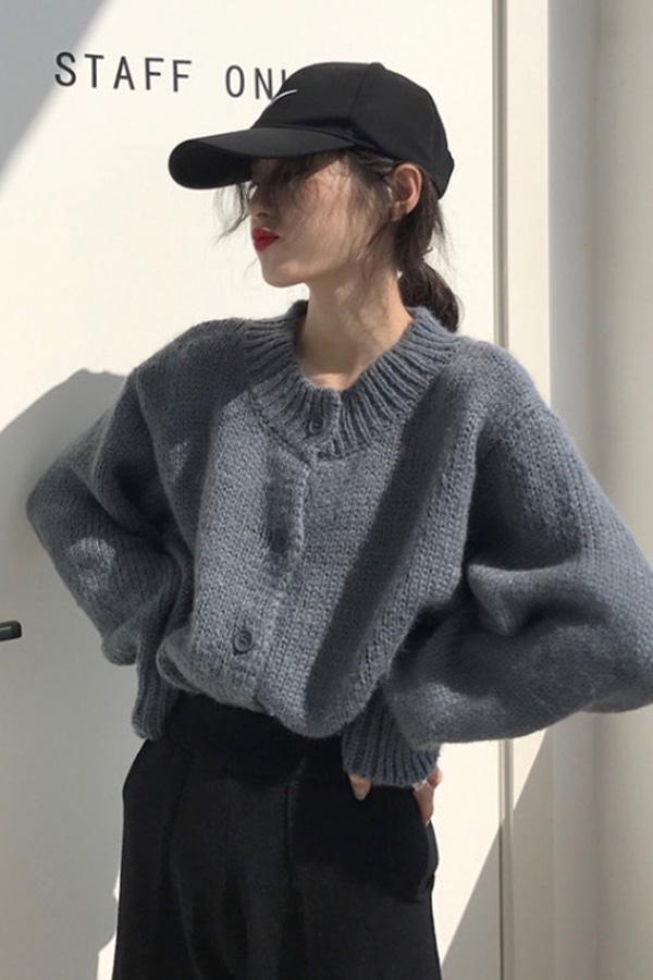 두들리 라운드 버튼 니트 스웨터 가디건 (블루,커피브라운)