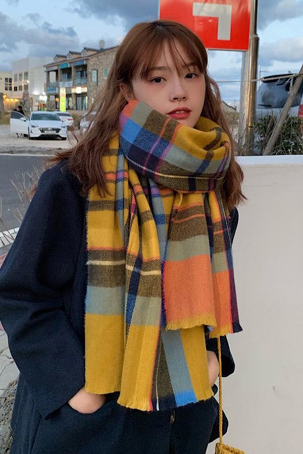 스윗컬러배색 스타일리쉬 체크롱 목도리 (6color)