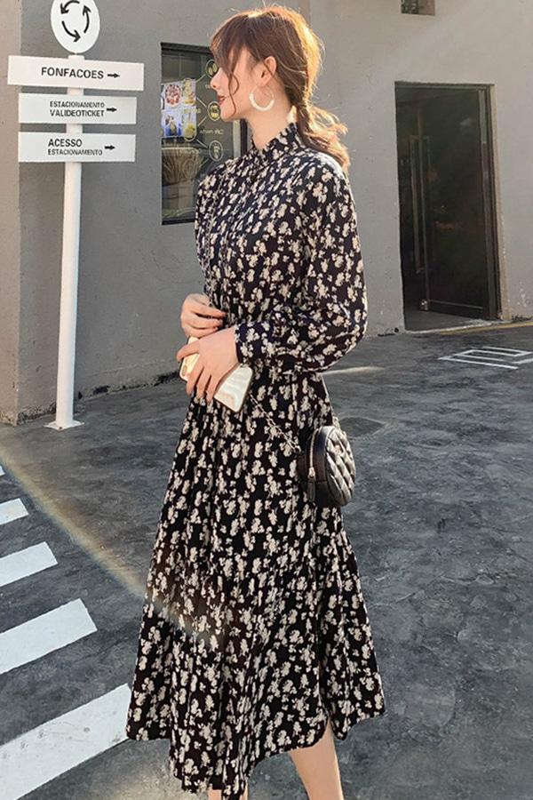 아크네이션 웨이스트 밴딩 패턴 여성원피스