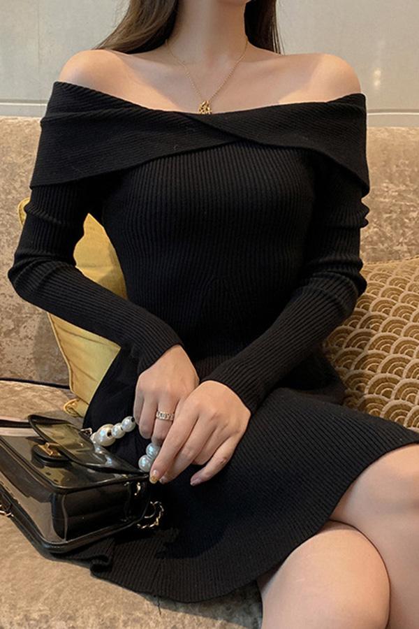 윈터스오프숄더 페스트리골지 플레어 하객룩 여성원피스 (아이보리,블랙)