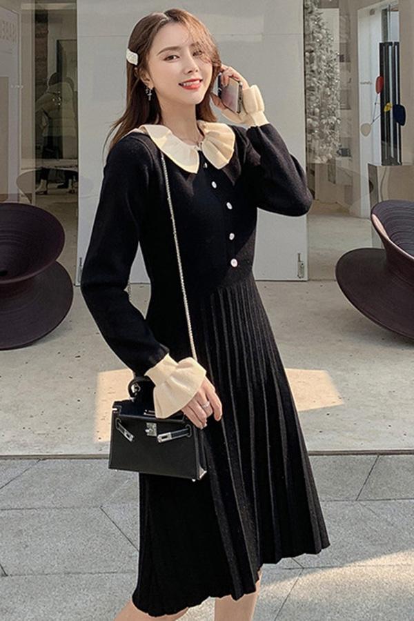 베러댄유니팅 배색카라 러블리주름 여성 하객룩원피스 (살구,블랙)