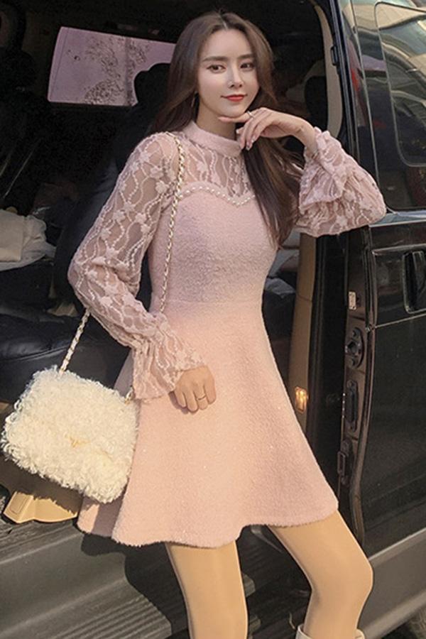 미들시스루진주포인트 플레어 여성 하객룩 미니원피스 (아이보리화이트,블랙,핑크)