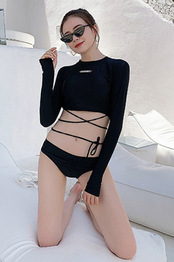 블록블랙 스트링크로스 여성 비키니수영복 (블랙)