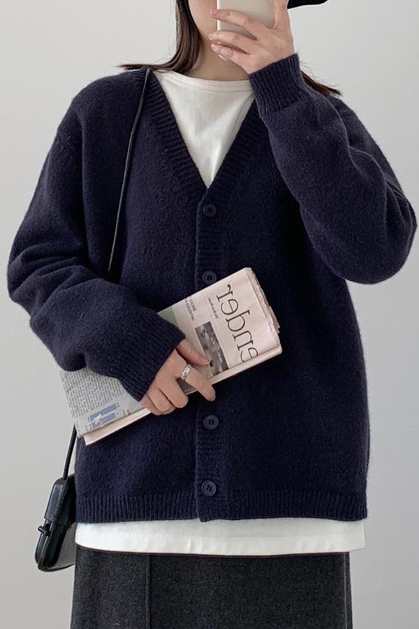 기본적인아이 데일리 루즈핏 활용가득 가디건 (다크블루,퍼플레드,크림화이트)