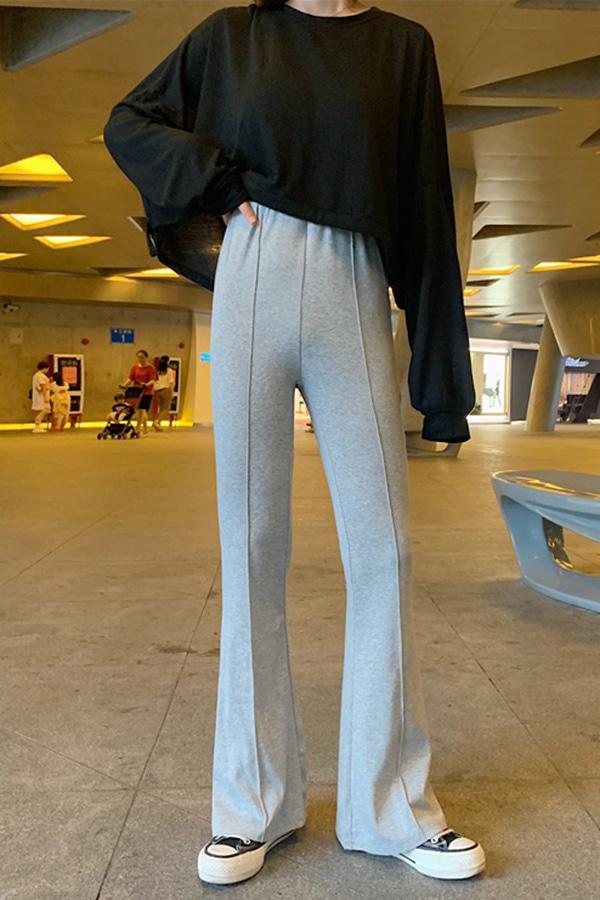 (당일배송) 편안함가득 스타일 앞절개 날씬핏 쫀쫀 하이웨스트 그레이 밴딩트레이닝 부츠컷팬츠