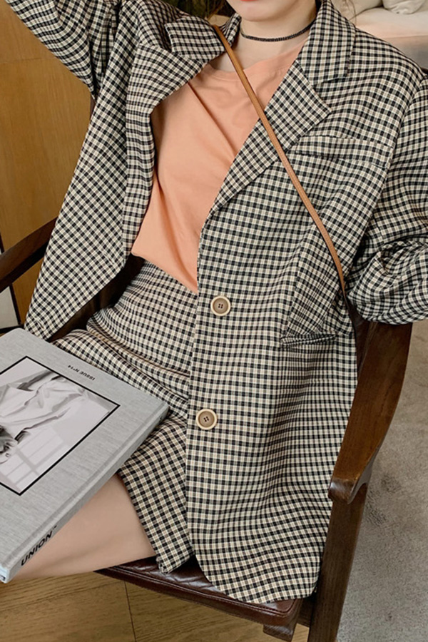 내옷장에두번저장 데일리 체크 박스 자켓 미니스커트 SET