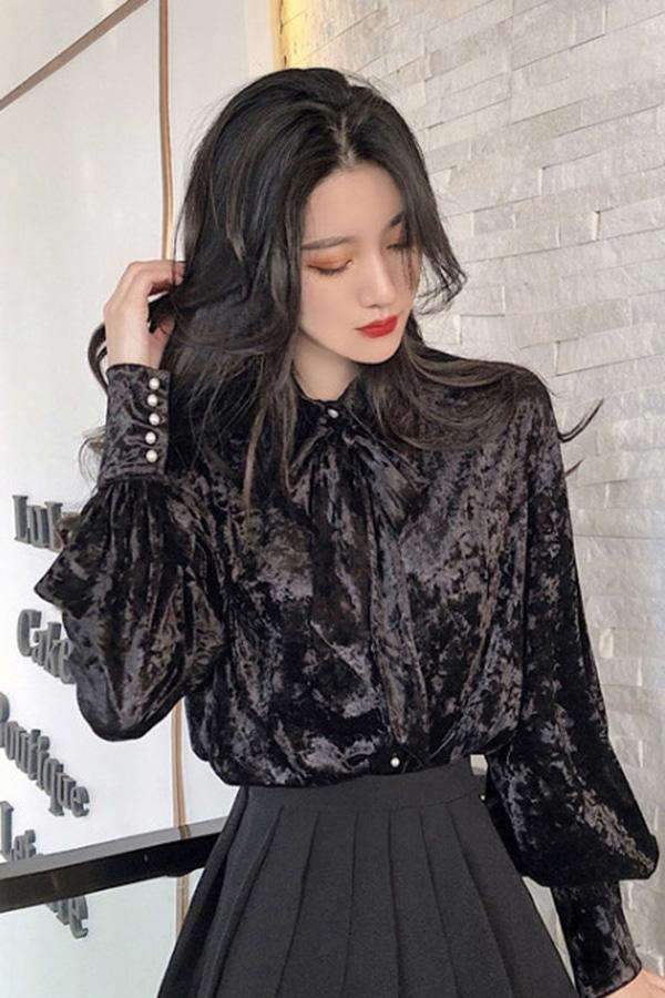 모드 벨벳 카라 퍼프 블라우스 셔츠 (블랙)
