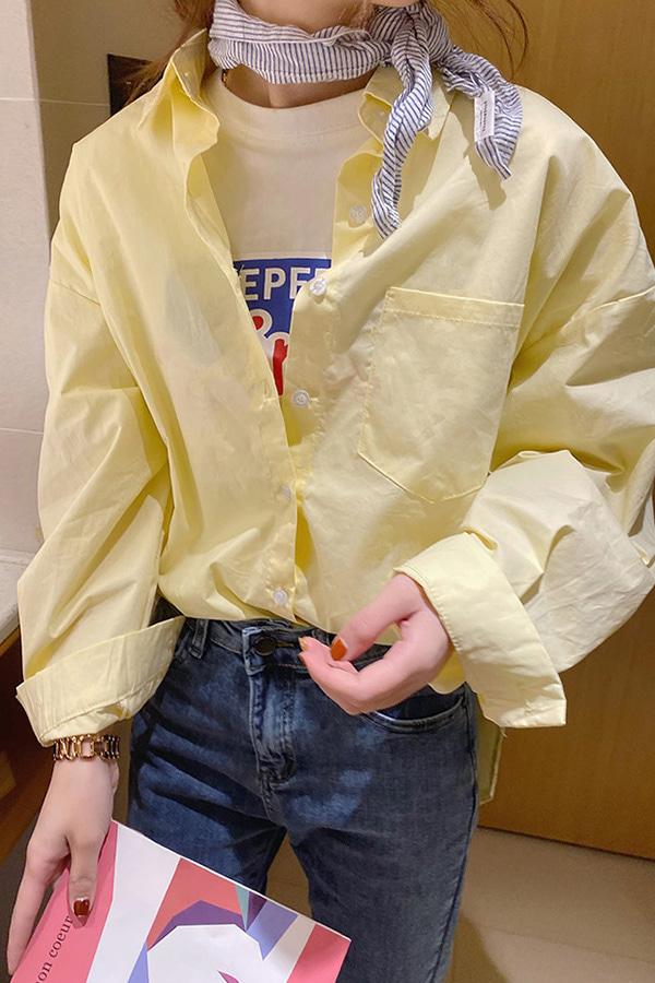 상큼마카롱 데일리 루즈핏 박스 셔츠 (옐로우,퍼플)
