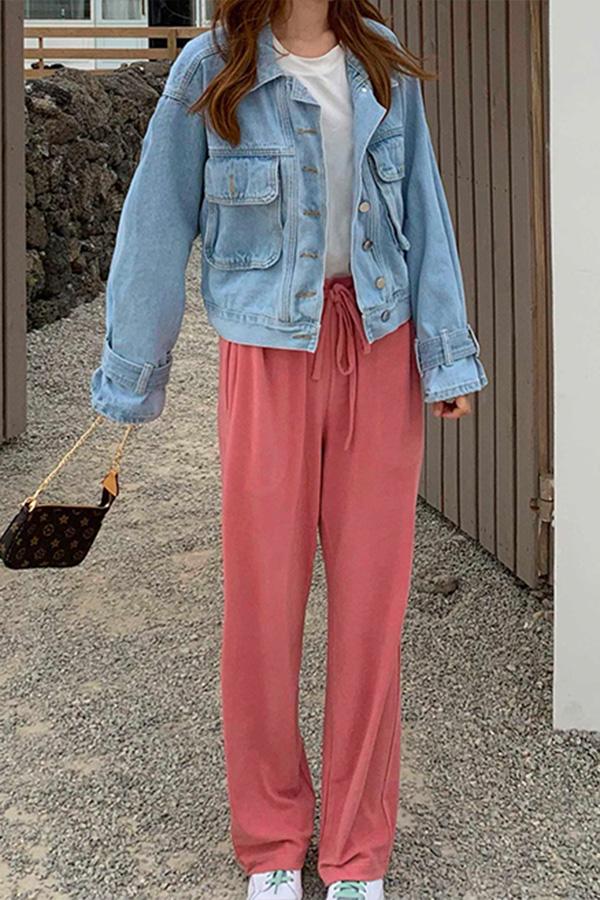 순수무드 밴딩 롱다리 팬츠 (핑크,화이트)