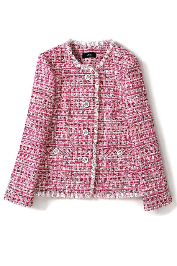 컬러풀써클버틈 여성트위드 자켓 (핑크,그린)